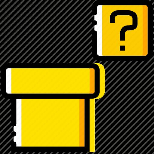 arcade, game, mario, pipe, yellow icon