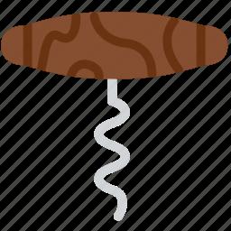 cooking, corkscrew, food, gastronomy icon