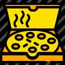 box, food, gastronomy, pizza, yellow icon