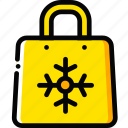 christmas, holiday, season, shopping, yellow icon