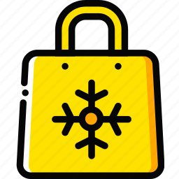 christmas, holiday, season, shopping, yellow icon