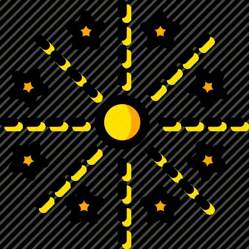 firework, holiday, lights, season, yellow icon