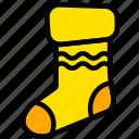 christmas, holiday, season, sock, yellow icon