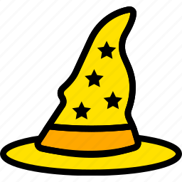 hat, holiday, season, wizard, yellow icon