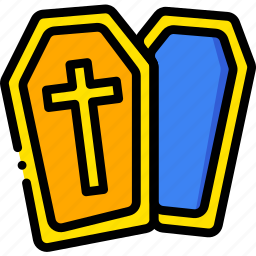 coffin, holiday, season, yellow icon