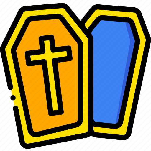 coffin, holiday, season, yellow icon