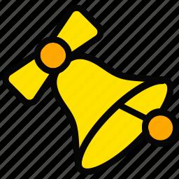 bell, christmas, holiday, season, yellow icon