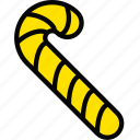 candy, cane, holiday, season, yellow icon