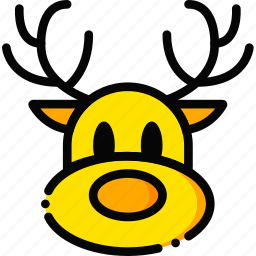 christmas, holiday, reindeer, season, yellow icon