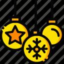 christmas, decorations, holiday, season, yellow icon