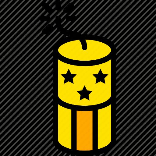 firecracker, holiday, lights, season, yellow icon