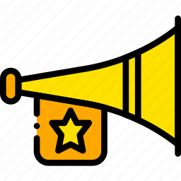 fanfare, holiday, loud, season, yellow icon