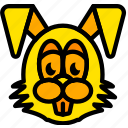 bunny, easter, holiday, season, yellow icon