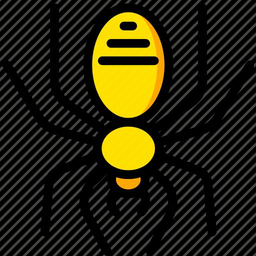 holiday, scary, season, spider, yellow icon