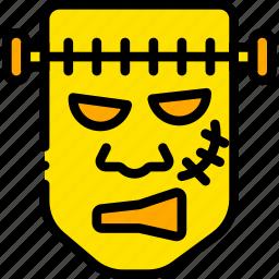 frankestein, holiday, monster, season, yellow icon