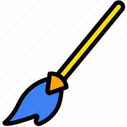 broom, halloween, holiday, season, yellow icon