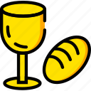 bread, holiday, season, wine, yellow icon