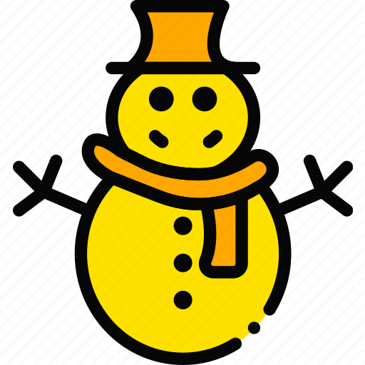 holiday, season, snowman, winter, yellow icon