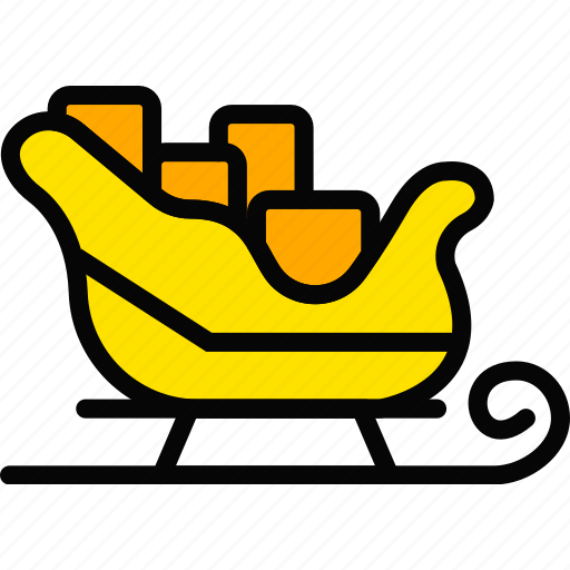 holiday, santas, season, sledge, yellow icon