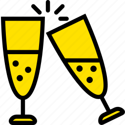 champagne, glasses, holiday, season, yellow icon