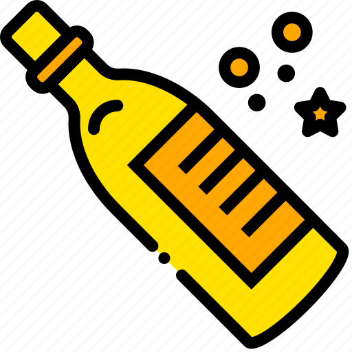 champagne, holiday, party, season, yellow icon