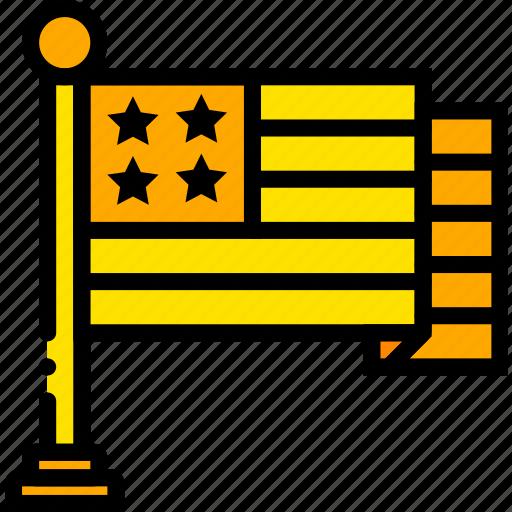 american, flag, holiday, season, yellow icon