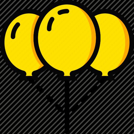 balloons, holiday, season, up, yellow icon
