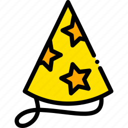 hat, holiday, party, season, yellow icon