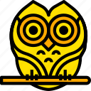 bird, holiday, owl, season, yellow icon