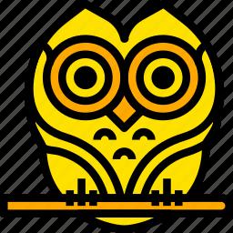 bird, holiday, owl, season, yellow icon