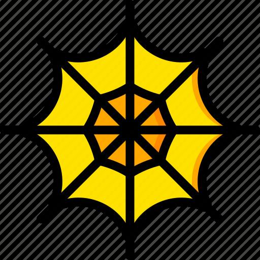holiday, season, spider, web, yellow icon