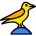 bird, holiday, raven, season, yellow icon