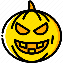 evil, holiday, pumpkin, season, yellow icon