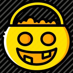 basket, holiday, season, treat, trick, yellow icon