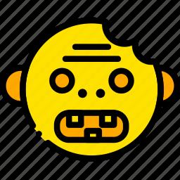 halloween, holiday, season, yellow, zombie icon