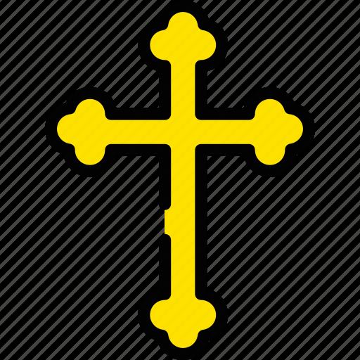 cross, god, holiday, season, yellow icon