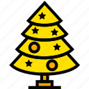 christmas, holiday, season, tree, yellow icon