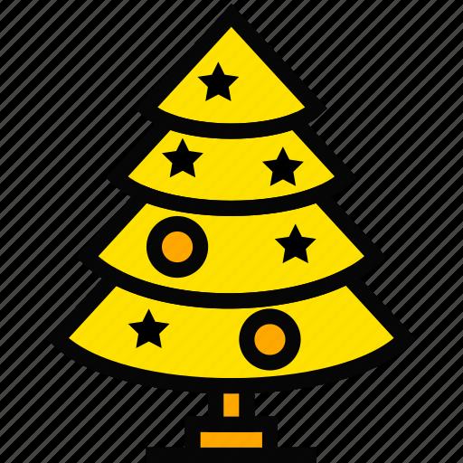 christmas, holiday, season, tree, yellow icon