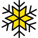 holiday, season, snowflake, winter, yellow icon