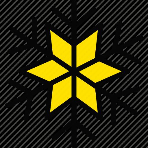 holiday, season, snowflake, winter, yellow icon