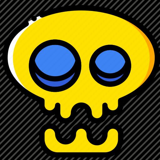 holiday, scary, season, skull, yellow icon