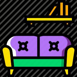 belongings, furniture, households, living, room icon