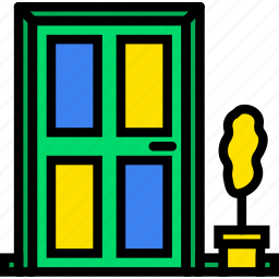 belongings, door, front, furniture, households icon