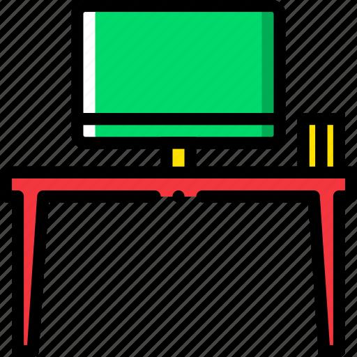 belongings, desk, furniture, households, working icon