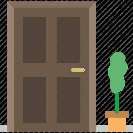 belongings, door, front, furniture, households icon