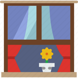belongings, exterior, furniture, households, window icon