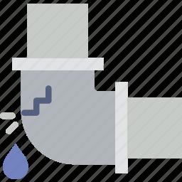 belongings, elbow, furniture, households, leaky, pipe icon