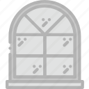 belongings, households, window, arched, furniture icon