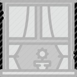 belongings, exterior, furniture, households, window icon