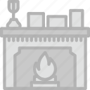 belongings, households, fireplace, furniture icon